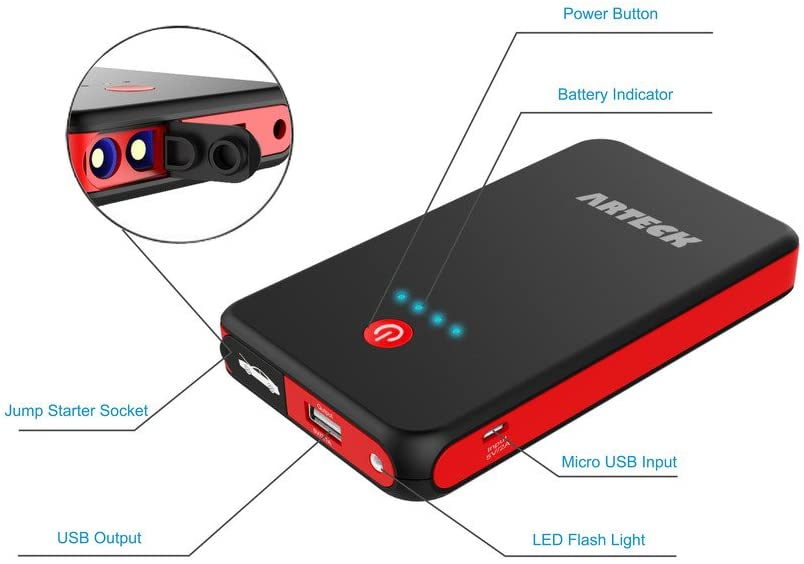 Car Motorcycle Battery Jump Starter 8000mAh 12V Charger, Tractor, Boat, Phone, LED Flashlight, 300A Peak 2.5L Gas Max