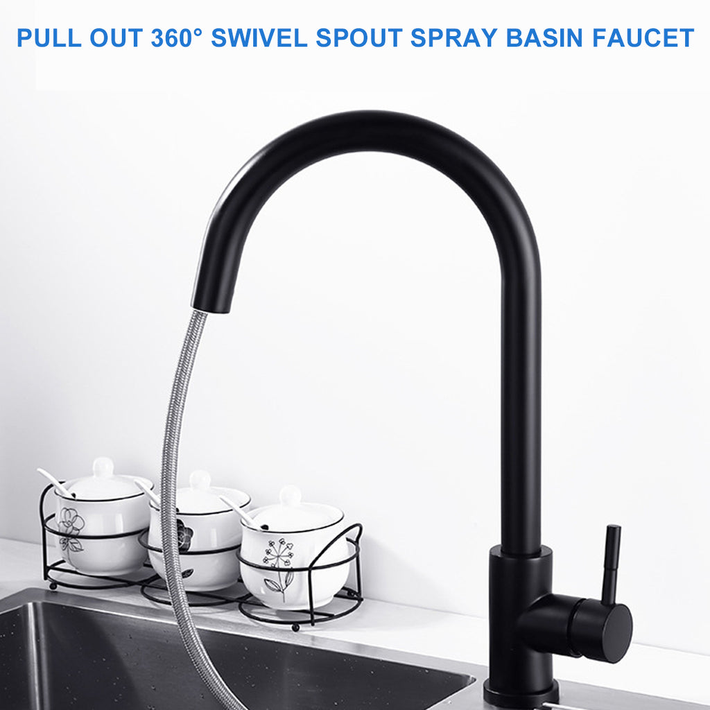 Kitchen Mixer Taps Pull Out 360° Rotate Spout Spray Sink Basin Faucet Brass - BLACK