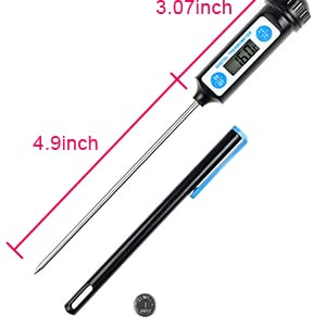 Cooking Thermometer - Digital Instant Read Thermometer for Food, Meat, Baby food and Bath Water - Black