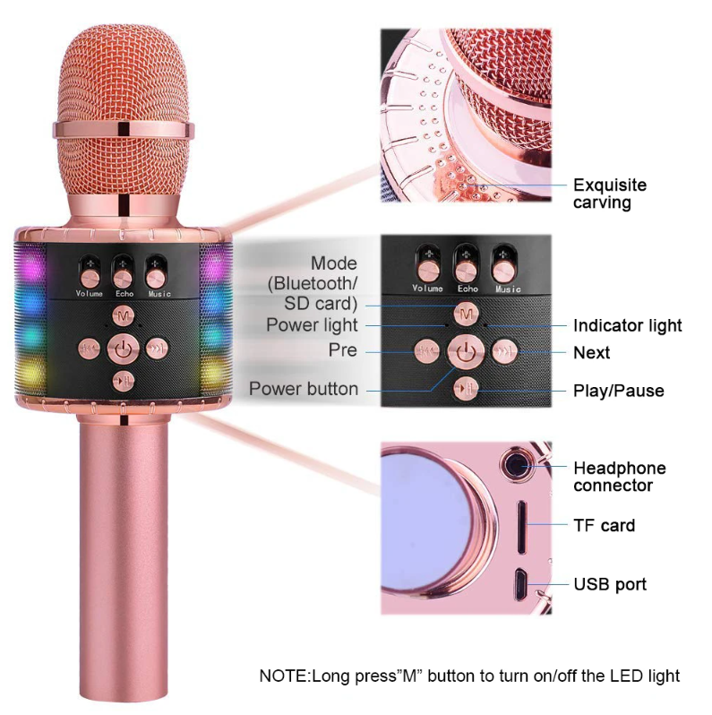 Karaoke Microphone Bluetooth Wireless Handheld Cordless Adult & Kids