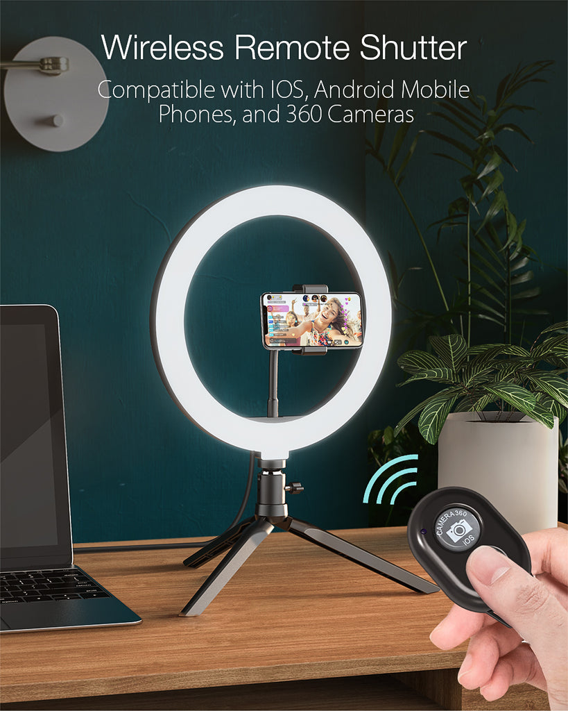 10inch Dimmable LED Ring Light Tripod Stand USB Plug for TikTok Youtube Live Stream Makeup with Phone Clip - Black