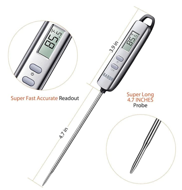 Meat Thermometer, Digital Cooking Thermometer, Candy Thermometer with Super Long Probe for Kitchen BBQ Grill Smoker Meat Cheese Food Oil Milk Yogurt Temperature Instant Read Thermometer