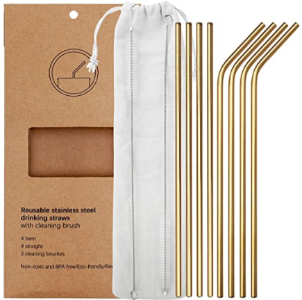 11Pcs Stainless Steel Metal Drinking Straw Reusable Straws+Cleaner Brush Kit+Bag
