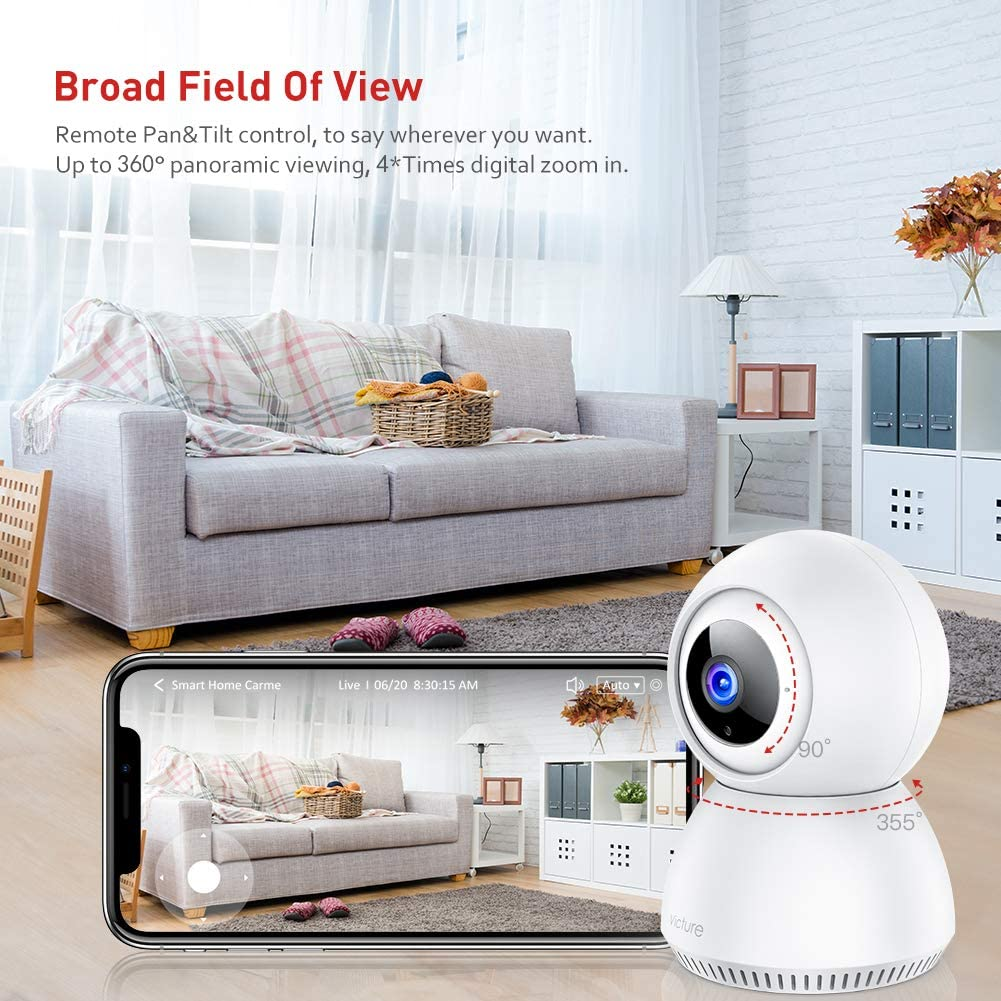 Baby Monitor (ALEXA & Phone Compatible) 1080P FHD 2-Way Voice Audio, Pet Camera Night Vision, Indoor Home Security Surveillance Camera, Smart Motion Tracking 2.4G WiFi Indoor