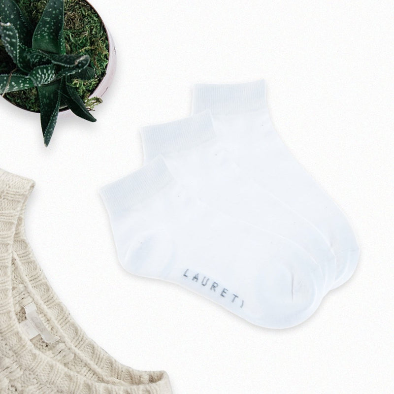 3 Pairs Laureti White Above Ankle Socks (Unisex • Free Size)