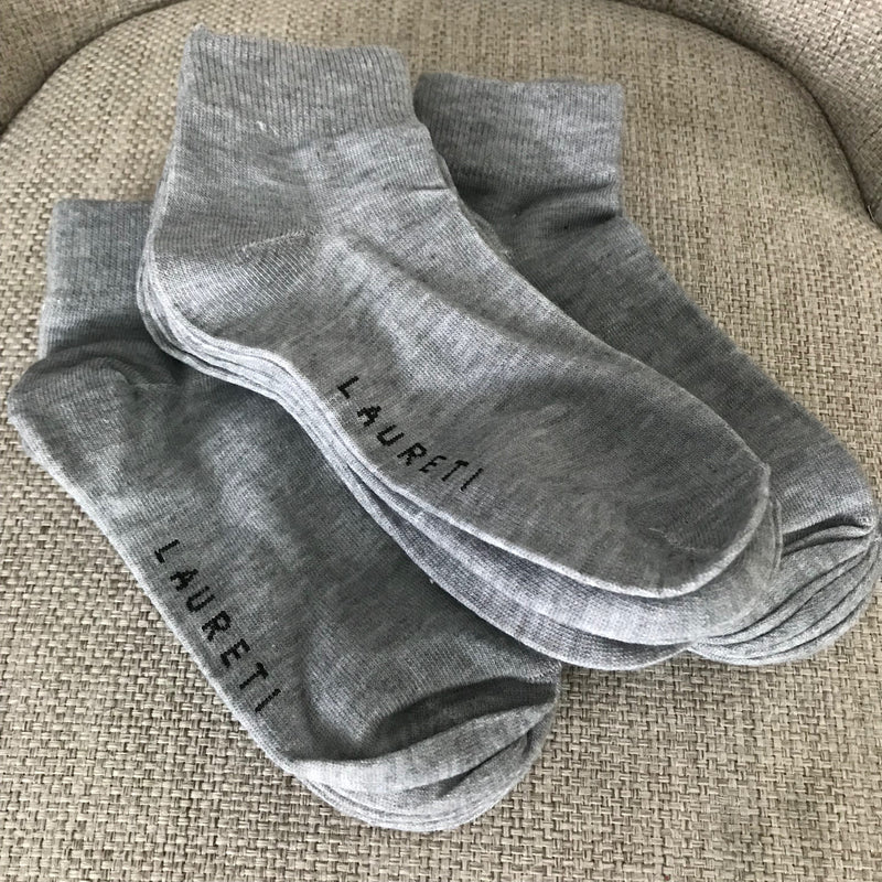 3 Pairs Laureti Gray Above Ankle Socks (Unisex • Free Size)