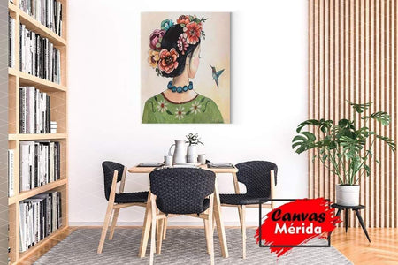 Flowers in a Head and colibri - Canvas Mérida Fine Print Art