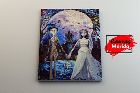 Corpse bride Victor and Emily - Canvas Mérida Fine Print Art