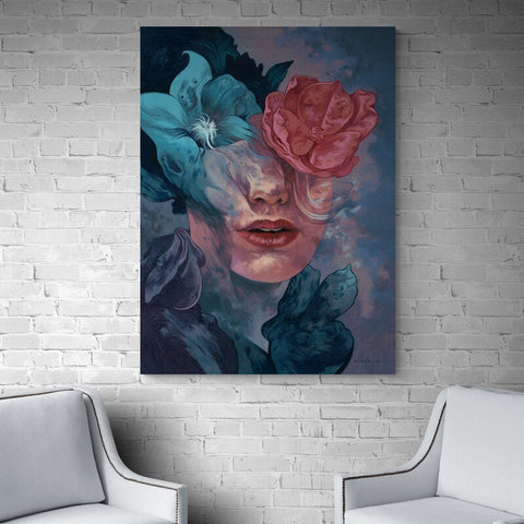 Flower Painting Woman - Canvas Mérida Fine Print Art