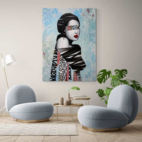 Magazine Woman Blue - Canvas Mérida Fine Print Art