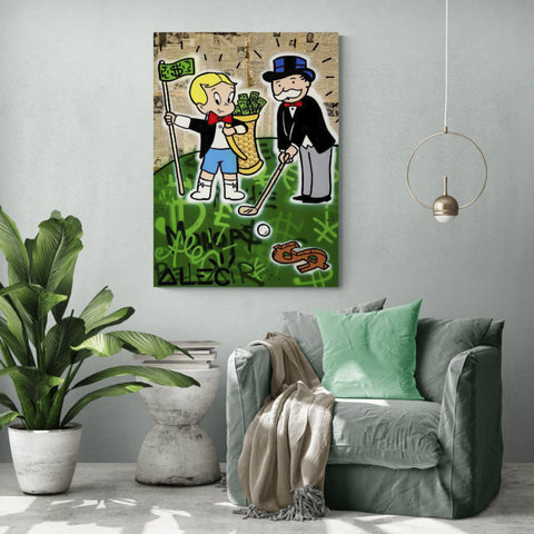 Monops y Richie jugando al golf - Canvas Mérida Fine Print Art