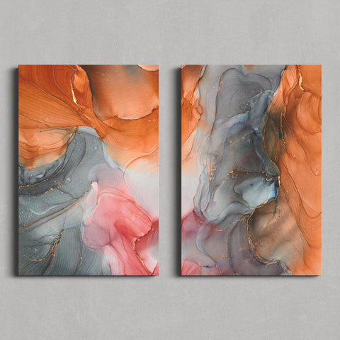 Orange and gray marble set - Canvas Mérida Fine Print Art