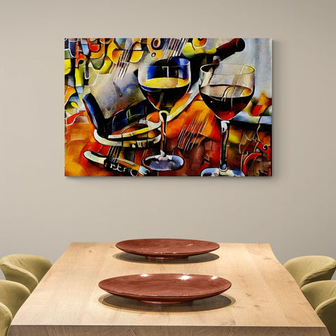 Red wine and cups - Canvas Mérida Fine Print Art