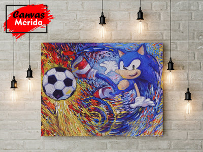 Sonic-the-Hedgehog-Playing-Soccer-Football - Canvas Mérida Fine Print Art
