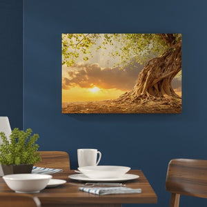 Strong Rooted Tree at Sunset - Canvas Mérida Fine Print Art