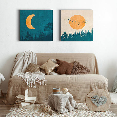 Sun and Moon set - Canvas Mérida Fine Print Art