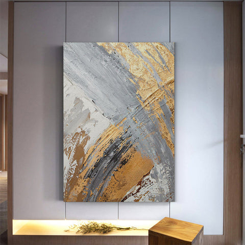 Abstract gold and gray - Canvas Mérida Fine Print Art