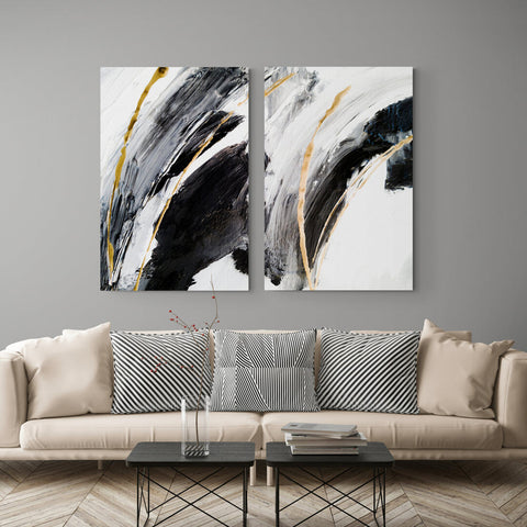Black abstract painting - Canvas Mérida Fine Print Art