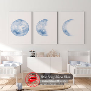 Blue Navy Moon Phases