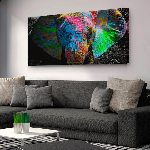 Colorfull painted elephant - Canvas Mérida Fine Print Art