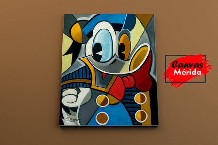 Donald duck cubist quack - Canvas Mérida Fine Print Art