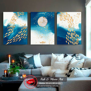 Fish & Moon Art - Canvas Mérida Fine Print Art