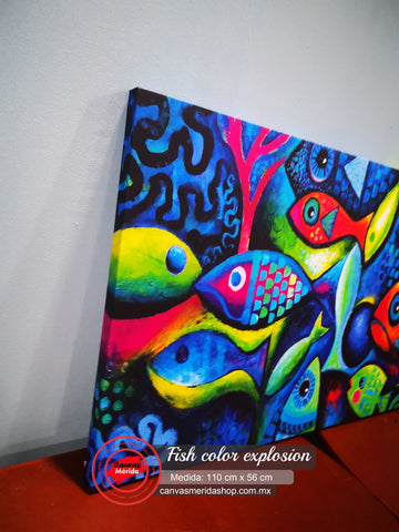 Image of Fish Color explosion (peces a colores ) - Canvas Mérida Fine Print Art