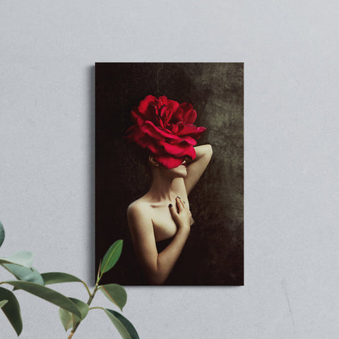 Floral red woman - Canvas Mérida Fine Print Art