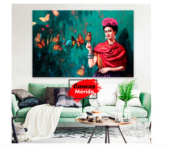 Frida Mariposas - Canvas Mérida Fine Print Art