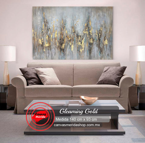 Gleaming Gold (Oro abstracto con gris) - Canvas Mérida Fine Print Art