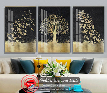 Golden tree and birds - Canvas Mérida Fine Print Art