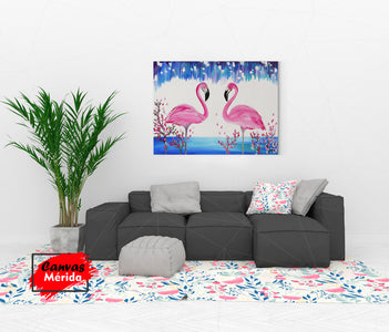 Flamingos romance - Canvas Mérida Fine Print Art