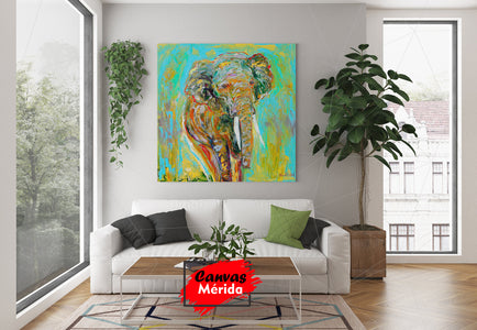 Elephant paint - Canvas Mérida Fine Print Art