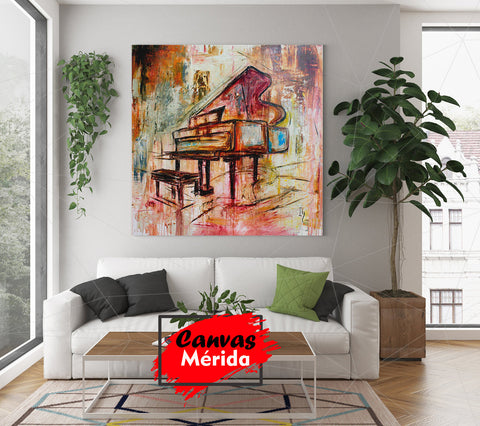 Image of Piano Painting - Canvas Mérida Fine Print Art