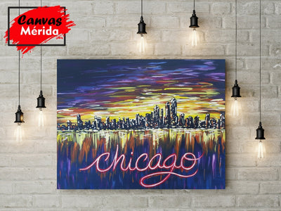 Chicago Skyline number  3 - Canvas Mérida Fine Print Art
