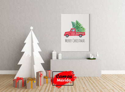 Red truck with christmas tree (navidad) - Canvas Mérida Fine Print Art