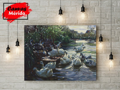 Ducks on the dock - Canvas Mérida Fine Print Art