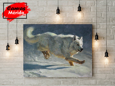 Lobo en nieve - Canvas Mérida Fine Print Art