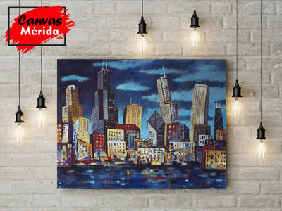 Chicago Skyline number 5 - Canvas Mérida Fine Print Art (4512341393547)