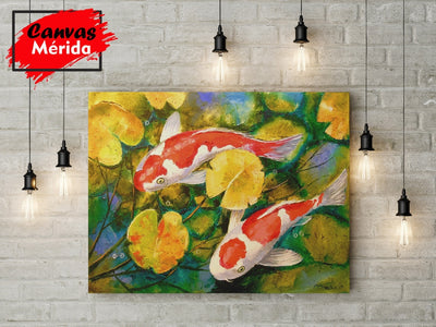 Koi in a pond - Canvas Mérida Fine Print Art (4512281231499)