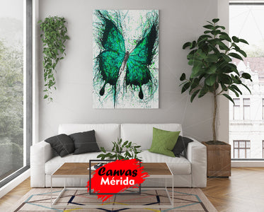 Green butterfly - Canvas Mérida Fine Print Art