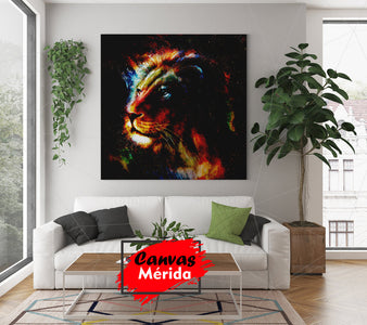 Lion en colorful - Canvas Mérida Fine Print Art