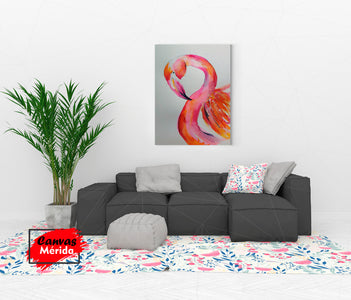 Flamingo y colores - Canvas Mérida Fine Print Art