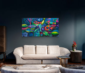 Fish Color explosion (peces a colores ) - Canvas Mérida Fine Print Art