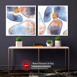 Abstract Watercolor Set Navy - Canvas Mérida Fine Print Art