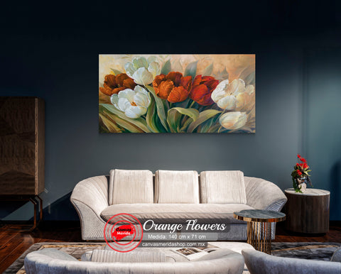 Orange Flowers (flores naranjas) - Canvas Mérida Fine Print Art
