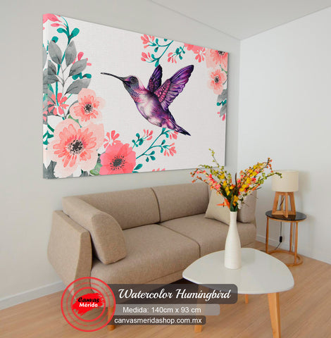Colibri watercolor flowers - Canvas Mérida Fine Print Art