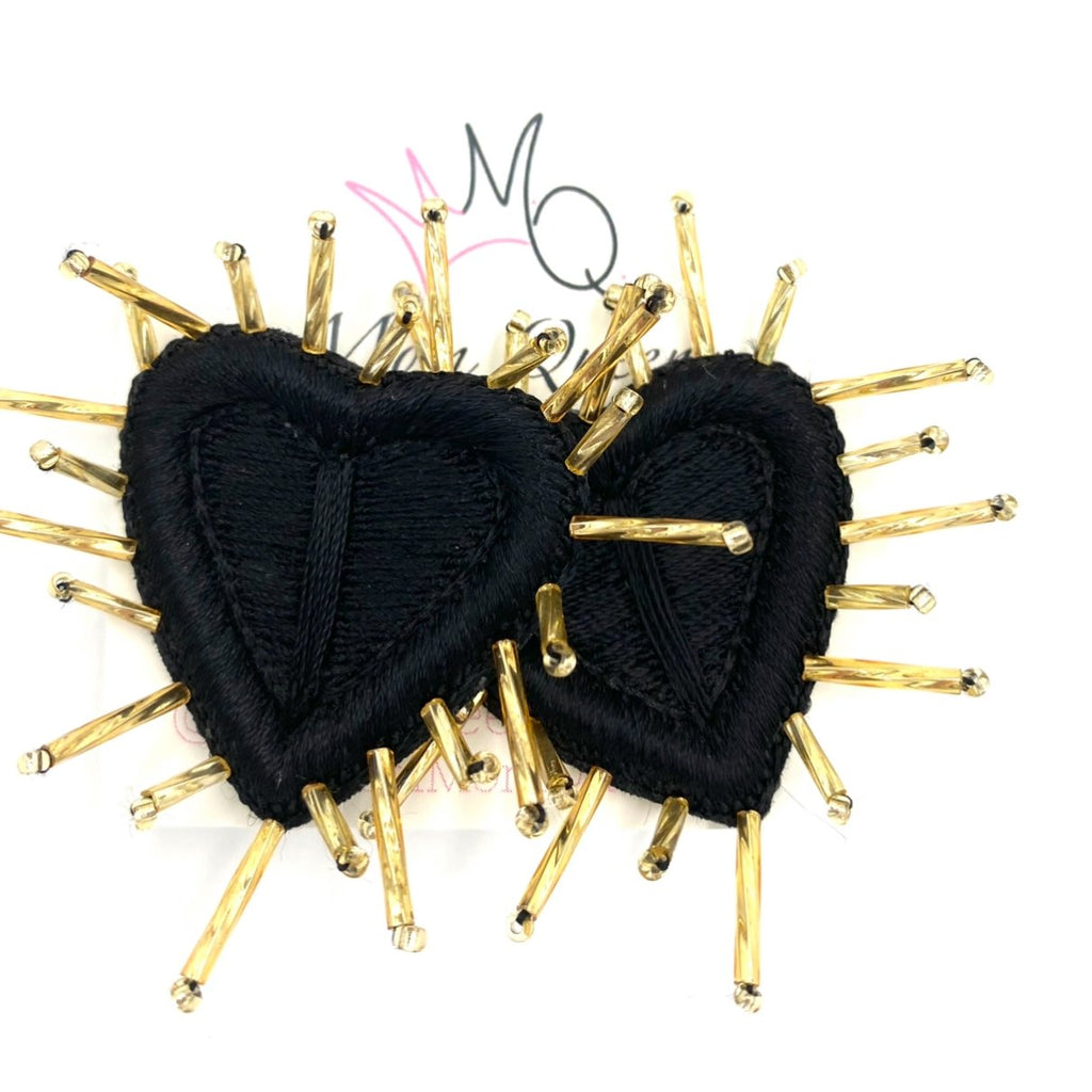 EARRING: BLACK SPINE HEART - MomQueenBoutique