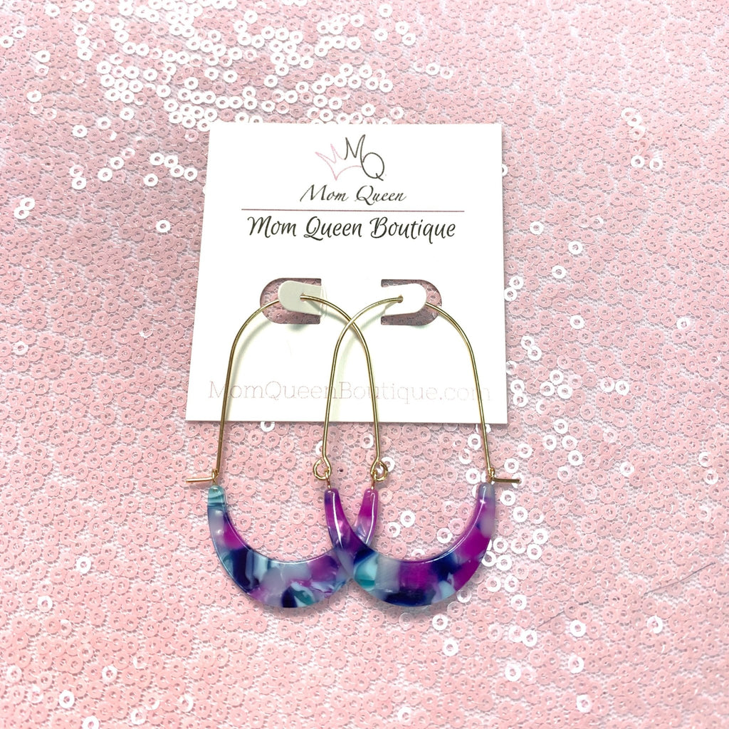 EARRING: BLUE AND PURPLE DANGLE - MomQueenBoutique