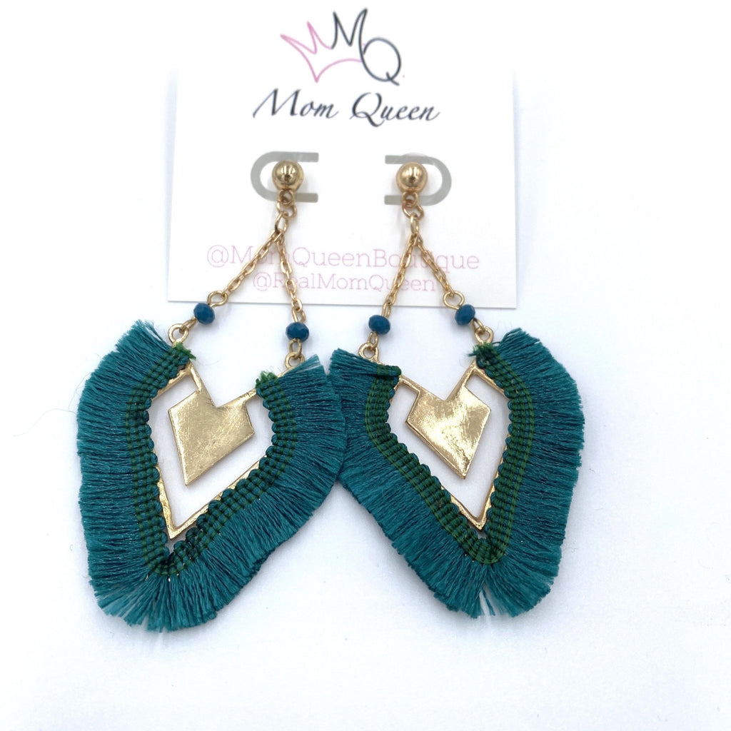 EARRING: GREEN AND GOLD TASSEL - MomQueenBoutique
